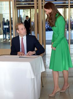Earlier that day, Prince William signed the visitors book after touring the National Portrait Gallery. Kate is seen wearing a wardrobe staple, a green Catherine Walker coat with her favorite Sledge pumps from LK Bennett. via @stylelist