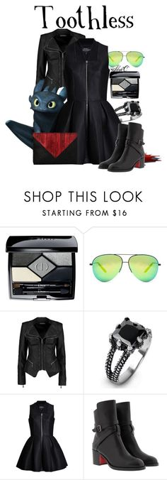 """""""Toothless - Dreamworks How to Train Your Dragon"""" by rubytyra ❤ liked on Polyvore featuring Christian Dior, Victoria Beckham, Boohoo, West Coast Jewelry, Lavinia Cadar, Christian Louboutin and Whiting & Davis"""