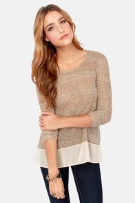 Frost at Sea Speckled Beige Sweater Top