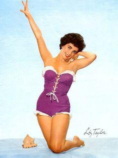 Elizabeth Taylor in Purple Swimsuit
