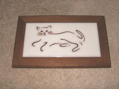 Framed Reclining Cat Tile Santa Fe Tile Company Made in Italy