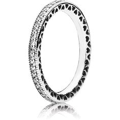 Pandora Ring - Sterling Silver & Cubic Zirconia Hearts of Pandora ($65) ❤ liked on Polyvore featuring jewelry, rings, silver, cubic zirconia heart ring, stud ring, heart ring, pandora jewelry and cz jewelry