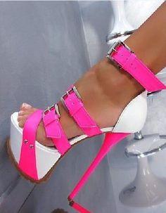 Gianmarco Lorenzi pink and white buckle platform heels