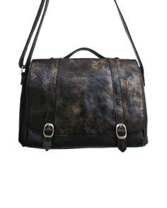 Bolsa de couro carteiro mensageiro Elisabeth preto e dourado lepreri - Leather satchel handbag made in brasil black