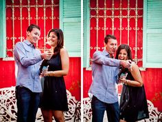 LOVING this champagne scene for engagement photos. So colorful and fun!  Why not pop a champagne bottle and celebrate?