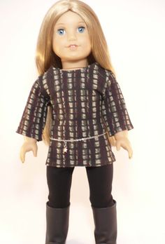 American Girl 18 inch doll clothes -  top, leggings and belt outfit. $14.00, via Etsy.