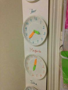 Prayer times on homemade clocks. Love it!
