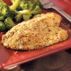 Red Pepper & Parmesan Tilapia.  One of my personal favorites!  I also add 1/2 cup progresso herb bread crumbs and 1/2 tsp. salt, along with 2 tsp. red pepper flakes, enjoy!