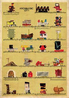 ARCHIMUSIC: ilustraciones que transforman Música en Arquitectura, © Federico Babina