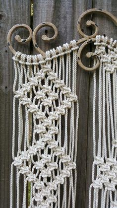 Large macrame made on distressed tan ornamental iron with inch off white cotton rope. 30 inches wide by 42 inches long Macrame Wall Hanging Patterns, Large Macrame Wall Hanging, Macrame Plant Hangers, Macrame Patterns, Macrame Design, Macrame Art, Macrame Projects, Micro Macrame, Macrame Rings