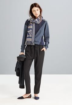 Madewell patchmix sweatshirt worn with track trousers + the d'Orsay flat.