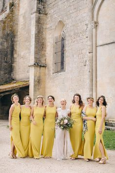 Mustard Yellow Bridesmaids Dresses from Whistles - Hermione De Paula Wedding Dress Destination Wedding At Chateau Rigaud France Images by M&J Photography Bridesmaids in Mustard Yellow Whistles Dresses Mustard Yellow Wedding, Yellow Wedding Colors, Mustard Wedding Theme, Yellow Dress Wedding, Mustard Bridesmaid Dresses, Yellow Bridesmaid Dresses, Destination Bridesmaid Dresses, Bridesmaid Inspiration, Wedding Inspiration