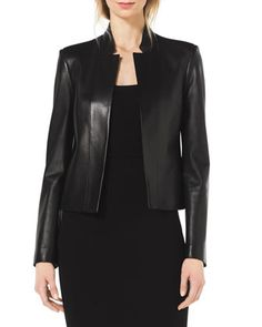 Stand-Collar Leather Jacket by Michael Kors at Bergdorf Goodman.