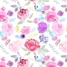 Watercolour Florals Vibrant on White MEDIUM fabric by sylviaoh on Spoonflower - custom fabric