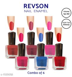 Nails  Premium Glossy Nail Polish(Pack of 6)  *Product Name* Revson Nail Polish  *Product  Type* Nail Polish  *Brand Name* Revson  *Capacity* 14 ml  *Shade* Multicolour  *Finish Type* Glossy  *Applicator * Brush  *Package Contains* It Has 6 Pack of Nail Polish  *Sizes Available* Free Size *   Catalog Rating: ★4 (6058)  Catalog Name: Nail Polish Revson Premium Glossy Nail Polish Combo Vol 1 CatalogID_125966 C51-SC1244 Code: 631-1039092-