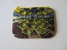 Trousse tissu wax motif africain marron jaune et or (envoi 0€)  - par Cewax sur Afrikrea, €12.00