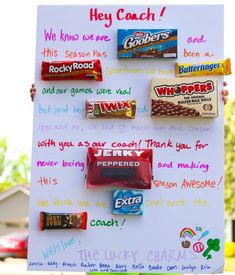 How to Make a Candy Bar Card (Coach Gift Idea) - My Frugal Adventures Softball Coach Gifts, Cheer Coach Gifts, Cheerleading Gifts, Basketball Gifts, Team Gifts, Sports Gifts, Softball Stuff, Girls Softball, Basketball Coach