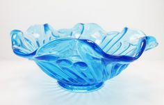 Collectible Blue Pressed Swirl Pattern Glass Dish by GildedTrifles