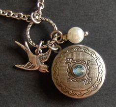 Vintage Silver LocketSilver Bird Swarovski by ValleyGirlDesigns