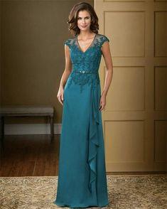 Elegant Teal Color V-Neck Chiffon Long evening dresses 2015 Lace Appliqued Mother of the Bride Dresses Plus Size