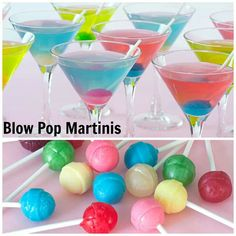 Blow Pop Martinis: 2/3 cup frozen lemonade concentrate, thawed and strained to remove solids 1 1/3 cups water 1 1/2 cup bubble-gum flavored vodka 4 tbsp sour apple, sour watermelon or berry blue sour liqueur 12 small lollipops, unwrapped, for garnish if desired