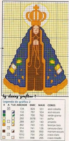 Ateliê Artetramas - Artesanato: Gráfico Ponto Cruz Nossa Senhora Aparecida