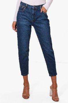 #boohoo High Rise Stud Detail Boyfriend Jeans - mid blue #Hatty High Rise Stud Detail Boyfriend Jeans - mid blue