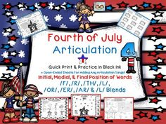4th of July Articulation: /F/, /R/, /AR/, /ER/, /OR/, /TH/, /L/, /L/ Blends from Shanda from Shanda on TeachersNotebook.com (57 pages)  - The unit provides you will a large variety of fun worksheets and activities (see preview for sample pages) that target the initial, medial, & final position of words for the sounds of: /F/, /R/, /TH/,