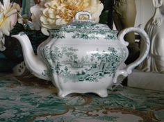 Nancy's Daily Dish: Teal Transferware by Adams ~ Fairy Villas Tablescape Green China, Teal Green, Olive Green, Yellow, Vintage Dishes, Vintage Ceramic, Salt And Pepper Dishes, Small Sailboats, Chocolate Pots
