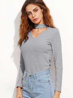 Grey Cutout Front Ribbed Sweater