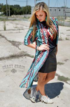 Crazy Train Women's Desperado Duster, Colorful Long Duster, Cover Up #CrazyTrain #CoverUp