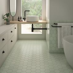 "Kromatika 5"" x 4"" Mint - Matte Finish Hexagon Porcelain Floor & Wall Tile - $5.97 Per Square Foot Hexagon Tile Bathroom Floor, Mint Bathroom, Bathtub Tile, Hexagon Tiles, Tile Floor, Porcelain Floor, Rose Beige, Spanish Style Bathrooms, Bathroom"