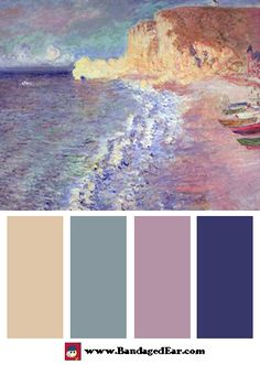 Wave Color Palette: Morning at Etretat, Art Print by Claude Monet Colour Pallette, Colour Schemes, Color Combos, Color Balance, Color Harmony, Design Seeds, Color Studies, Color Swatches, Color Inspiration