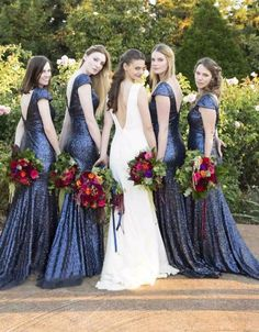 Blue Sequin Bridesmaid Dresses,Mermaid Bridesmaid Dress,V-Back bridesmaid…