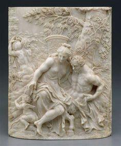 Ignaz Elhafen (Austria, 1658-1715) - Antíope y Júpiter como un sátiro, c. 1690. Marfil, 12.7 x 11.4 x 2.2 cm (Instituto de Arte de Detroit, USA)
