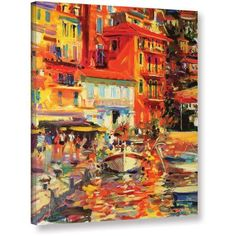 Peter Graham Reflections, Villefranche Gallery-Wrapped Canvas, Size: 14 x 18, Blue