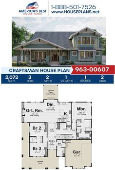 Styled in the Craftsman design, Plan 963-00607 is featured by 2,072 sq. ft., 3 bedrooms, 2.5 bathrooms, a wrap around porch, a mud room, a media room and an exercise room. Find more information about this plan on our website.