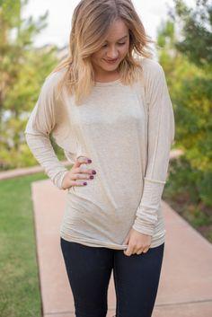 Long sleeve knit dolman top sand
