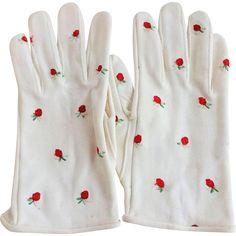 Hansen Vintage 1950s Wristlet Gloves White With Embroidered Strawberries