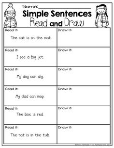 Simple Sentences for BEGINNING readers that include sight words and CVC words. Read the sentence and draw a matching picture writing activities Kindergarten Reading, Reading Activities, Kindergarten Worksheets, Teaching Reading, Guided Reading, Kindergarten Sight Words List, Early Reading, Work Activities, Close Reading