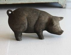 Scupltural Paper Mache over Pottery Folk Art Pig | From a unique collection of antique and modern sculptures and carvings at https://www.1stdibs.com/furniture/folk-art/sculptures-carvings/