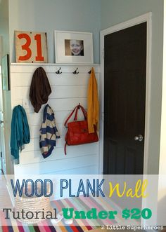 Wood Plank Wall Hallway Tutorial with lots of photos. How to create a wood plank wall for under $20 and no fancy tools! www.2littlesuperheroes.com #plankwall