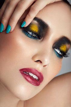 Black and yellow eyeshadow