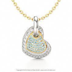 Aquamarine and Diamond Heart Pendant