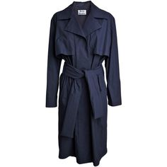 Acne Friday oversize trench coat ($620) ❤ liked on Polyvore featuring outerwear, coats, jackets, coats & jackets, dresses, dark blue, acne studios, cotton coat, tie belt and blue coat
