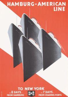 STUNNING Art Deco New York Hamburg America Poster