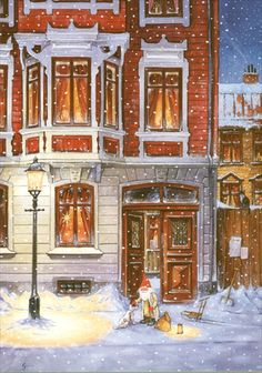 Charles A. Gnomes are in the Big Cities too! Christmas Tale, Christmas Scenes, Vintage Christmas Cards, Winter Illustration, Christmas Illustration, Children's Book Illustration, Humanoid Mythical Creatures, Troll, Scandinavian Gnomes