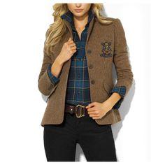 Distinguished Ralph Lauren Women's Tweed Riding Jacket in Khaki, Best Ralph Lauren Polo Shirts Online Store