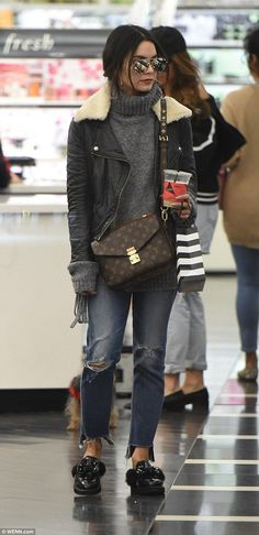 Effortlessly chic: Vanessa Hudgens looked as cool as can be while she was out shopping for...
