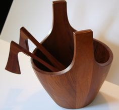 "Vintage teak ""Viking"" bowl manufactured by Dansk, mid 20th Century.  Designed by Lens Quistgaard"